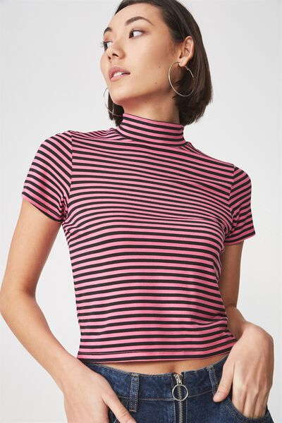 Short Sleeve High Neck Top, BRIGHT STRIPE_CARMINE ROSE