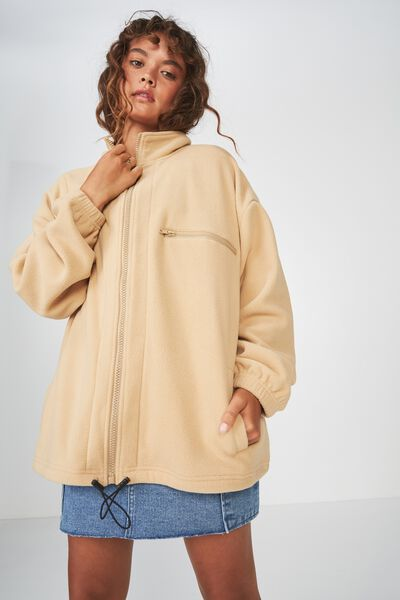 Polar Fleece Jacket, BUTTERED CARAMEL