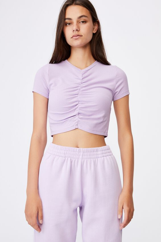 Cinch Front Short Sleeve Top, ORCHID BLOOM