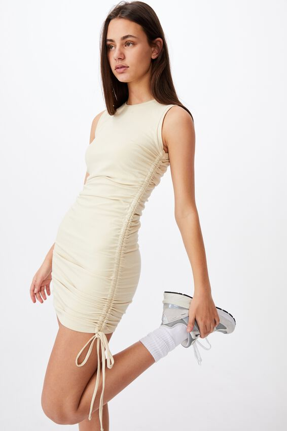 Ruched Sleeveless Dress, FOG