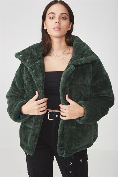 Belair Puffer Jacket, BOTTLE GREEN