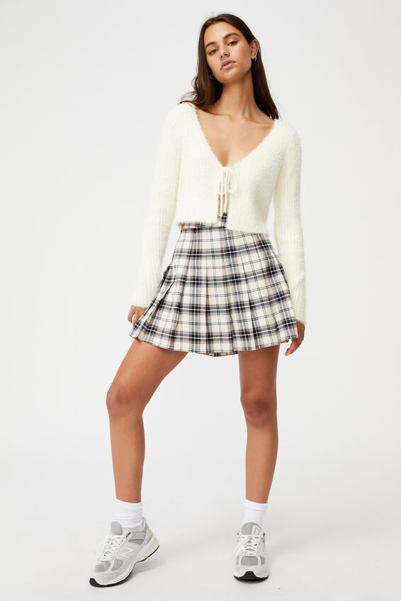 Pleated Skirt, JOLIE CHECK NEUTRAL