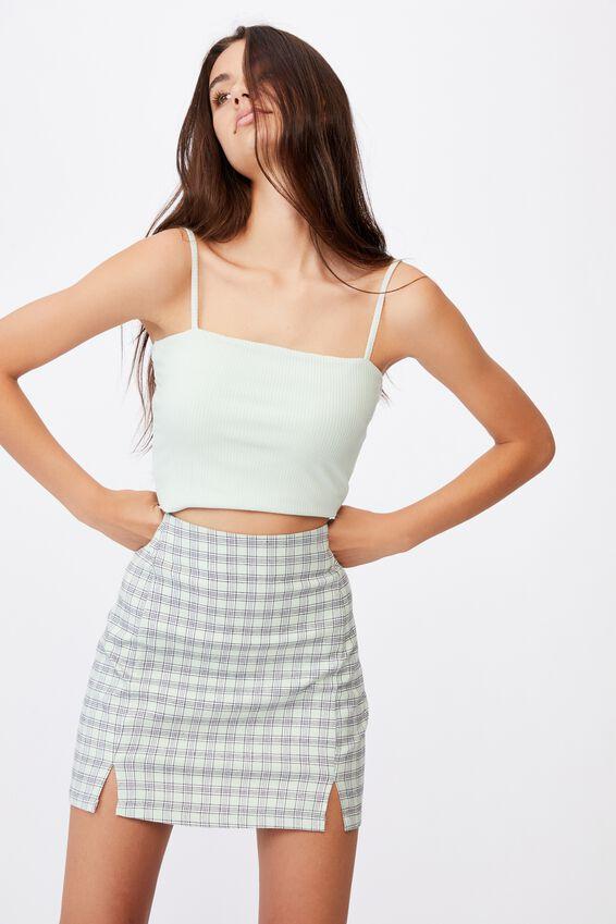 Double Split Mini Skirt, ADLEY CELADON CHECK