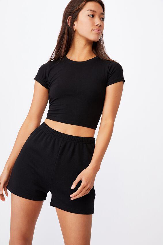 Super Slim Fitted Fleece Short, BLACK