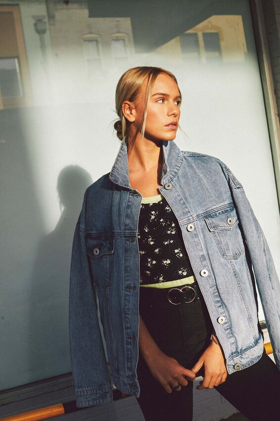 Oversized Denim Jacket, VINTAGE WASH