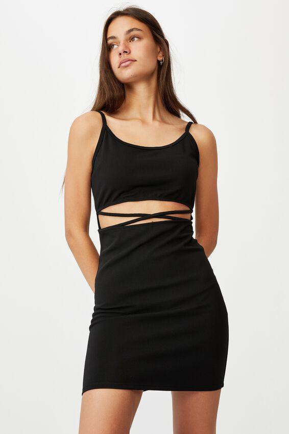 Criss Cross Front Dress, BLACK
