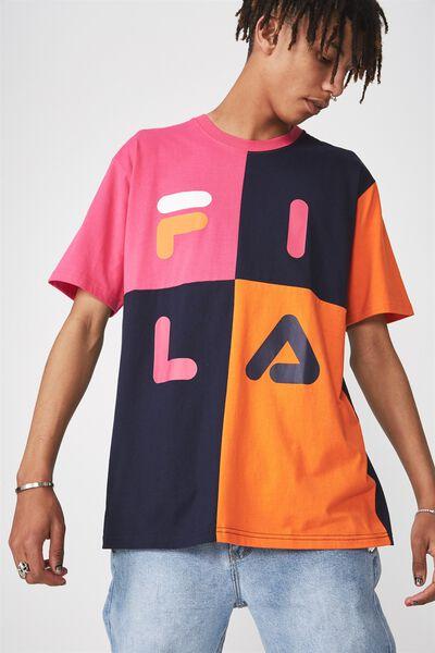 Fila Lcn Colour Block T Shirt, PINK/NAVY/ORANGE