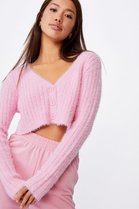 Fluffy Knit Super Crop Cardi, BABE PINK