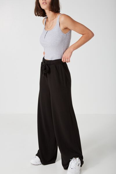 So Soft Wide Leg Trackpant, BLACK