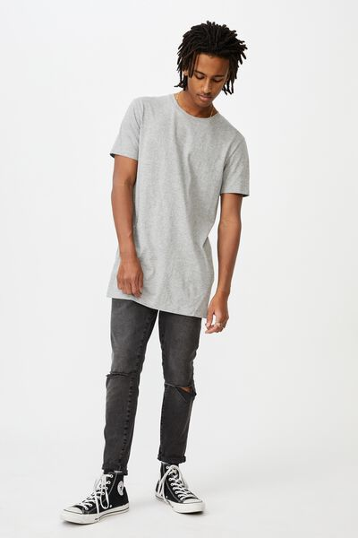 Raw Hem Skinny Leg Jean, WASHED BLACK