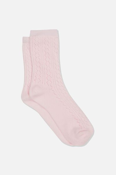 Pointelle Sock, PINK