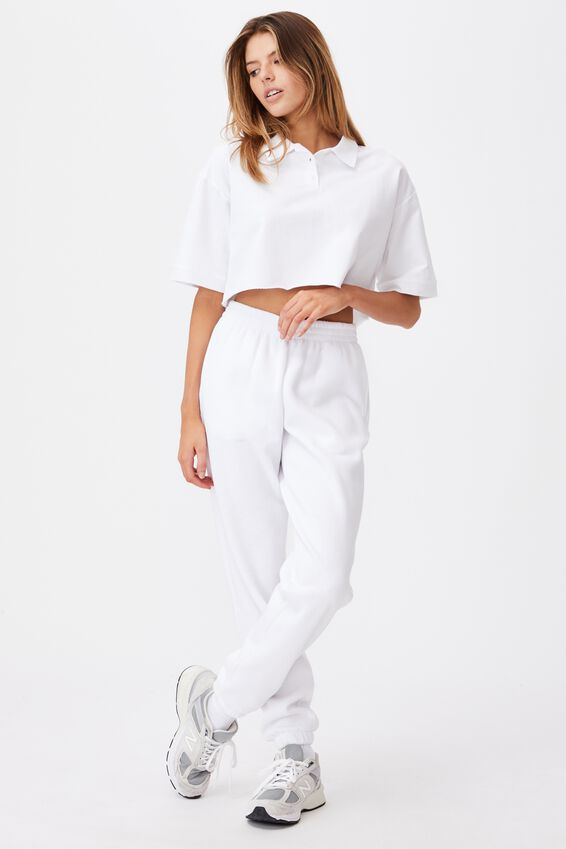 Short Sleeve Crop Polo Top, WHITE