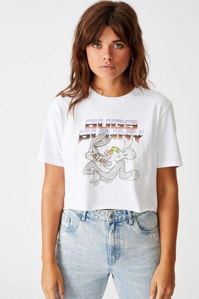 Lcn Raw Edge Graphic T Shirt, WHITE/BUGS