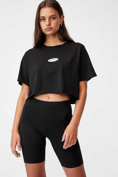 Short Sleeve Raw Edge Crop Graphic T Shirt, BLACK/INSTANT CONNECTION