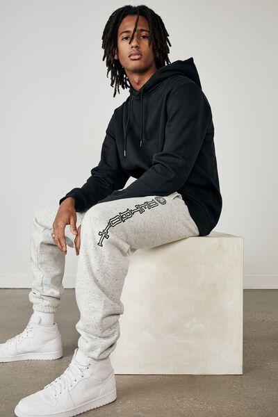 Relaxed Graphic Trackpant, GREY MARLE FLECK/DETROIT