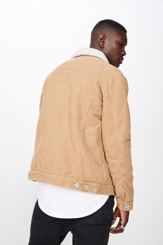 Cord Sherpa Jacket, TAN