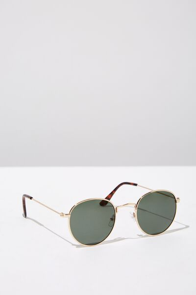 Splendour Round Sunglasses, GOLD_GRN