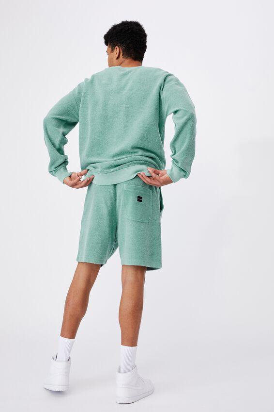 Reverse Fleece Track Short, WASHED COOL MINT