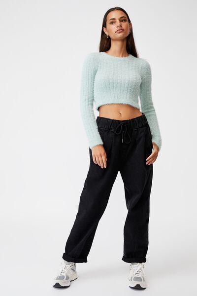 Fluffy Knit Crop Jumper, ETHER