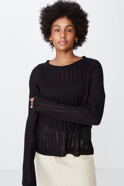 Slouchy Knit Jumper, BLACK