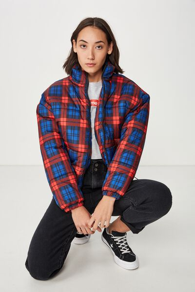 Fashion Puffer Jacket, ASHLEY RED/BLUE CHECK