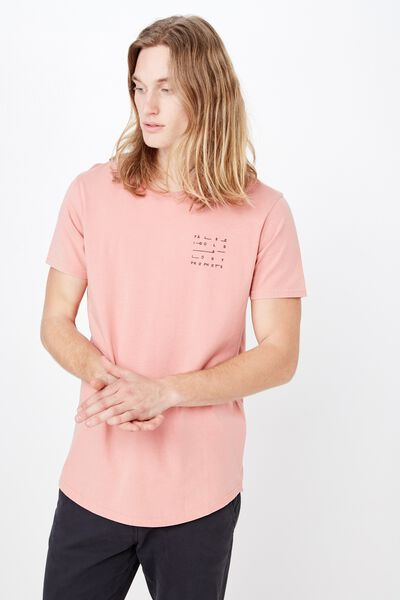 Curved Graphic T Shirt, WASHED CORAL/LOST AND FALSE