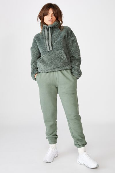 Qtr Zip Plush Pull Over, FOREST KHAKI