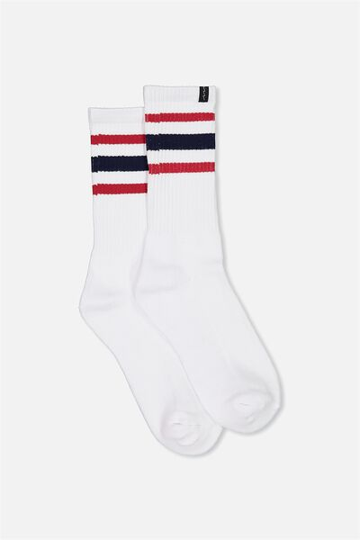 Retro Ribbed Socks, WHITE_NAVY RED MULTI