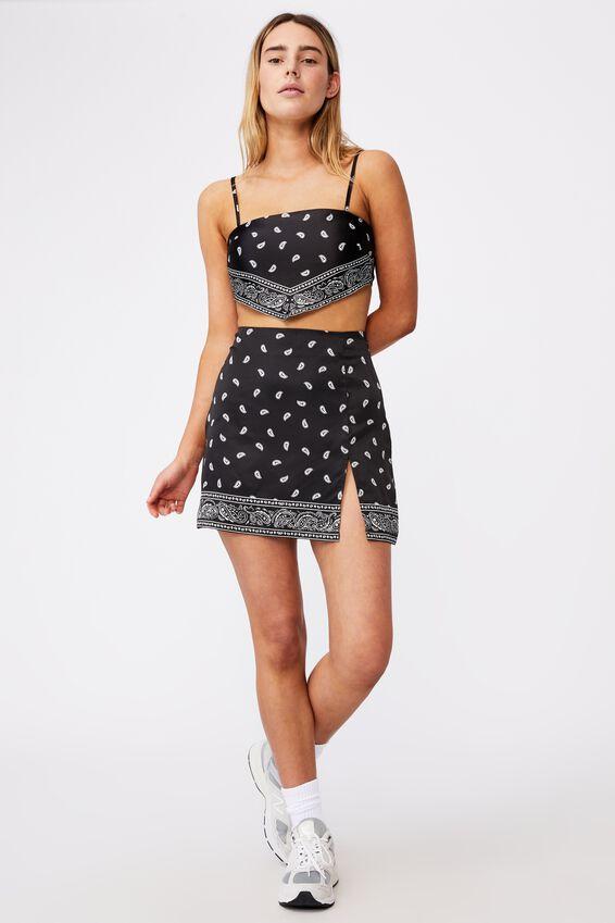 Satin Split Skirt, BLACK BANDANA PRINT