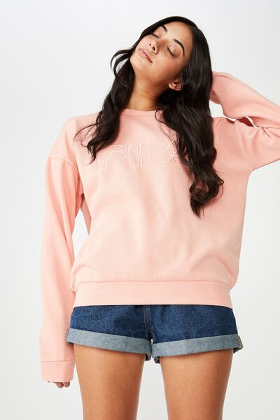 Fila Lcn Washed Crew Neck Sweater, WASHED DUSTY PINK