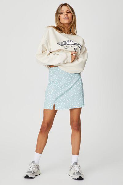 Double Split Mini Skirt, ETHER RUBY SPOT