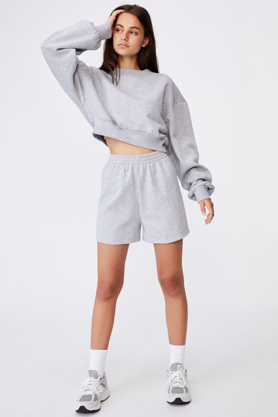 Boxy Crop Crew, GREY MARLE