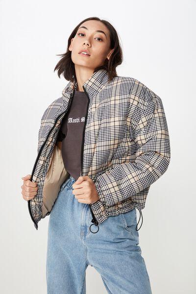 Fashion Puffer Jacket, AVERY NEUTRAL CHECK
