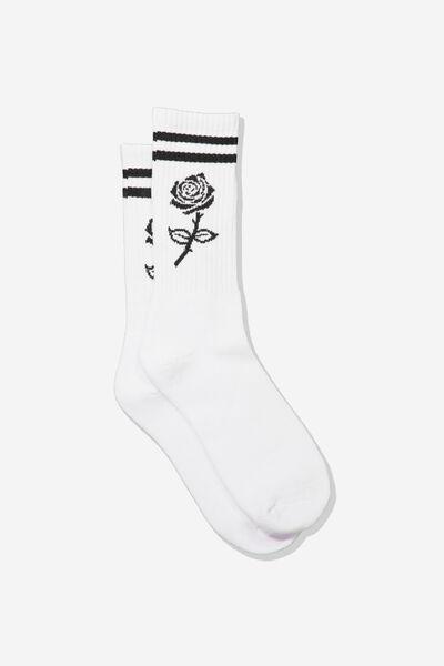 Retro Ribbed Socks, MONO ROSE STRIPE_WTE