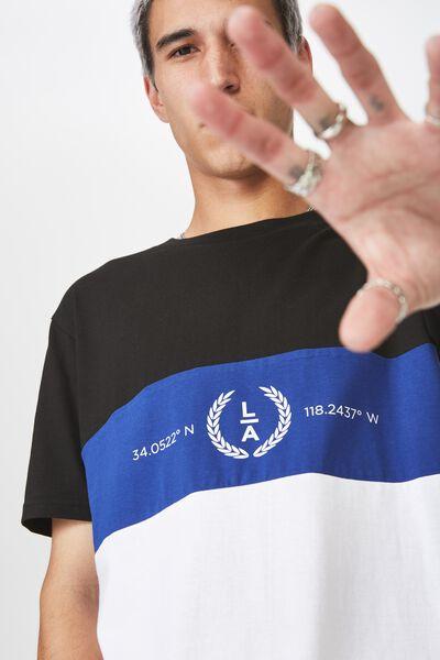 Slim Panelled T Shirt, BLACK/BLUE/WHITE