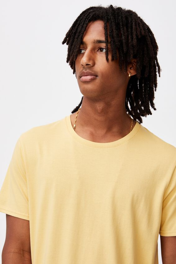 Curved T Shirt, CHALK YELLOW