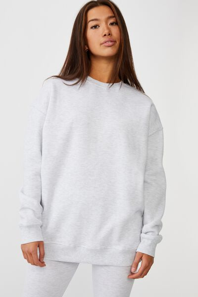 Oversized Crew Neck Sweater, SILVER MARLE