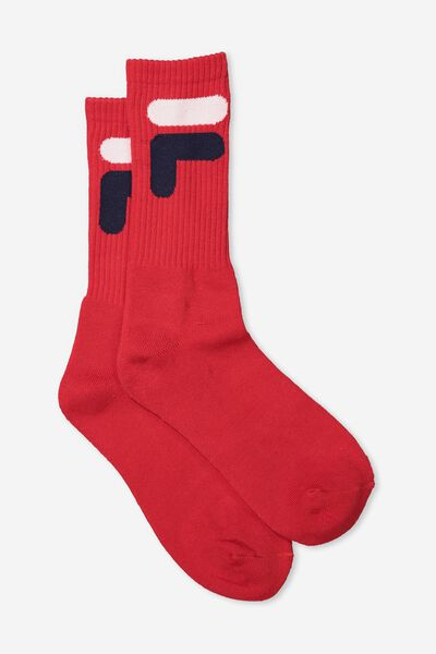 Fila Ribbed Sock, RED_F