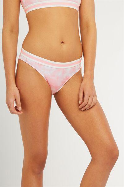 Racer Multi Bikini Bottom, BALLERNA/PEACH MULTI TIPPING