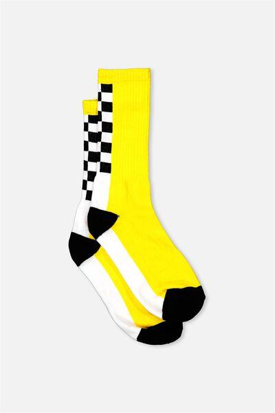 Retro Ribbed Socks, SPINE CHECK _YELLOW