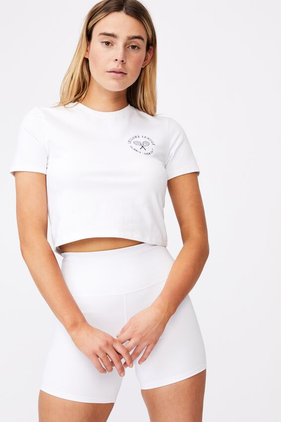 Fitted Graphic T Shirt, WHITE/LEISURE LEAGUE