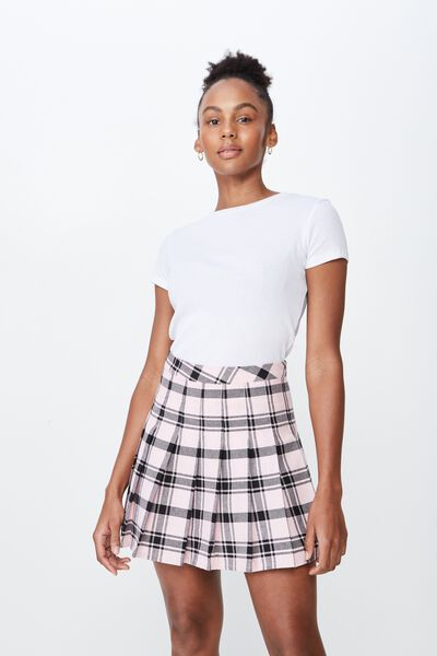 Pleated Skirt, DAHLIA CHECK PINK