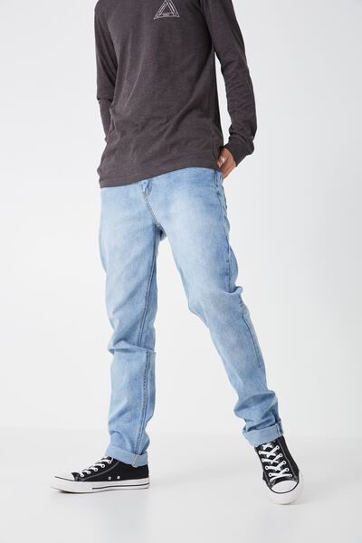 Slim Tapered Denim Jeans, LIGHT BLUE WORN