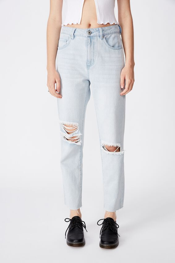 Distressed Mom Jean, ICE BLUE