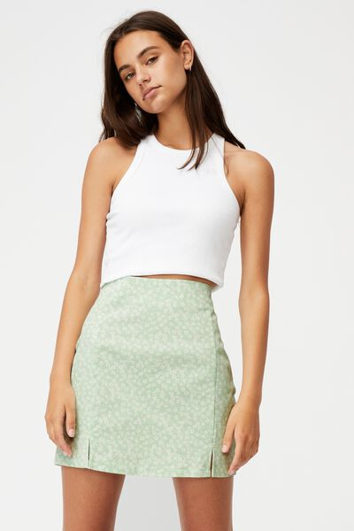 Double Split Mini Skirt, KITA FLORAL CELADON