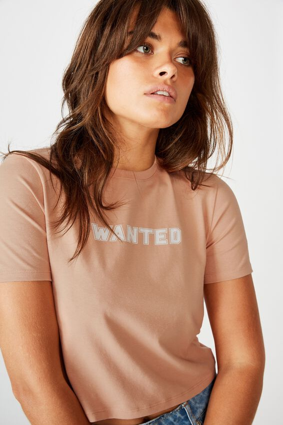 Fitted Graphic T Shirt, CORAL PINK/WANTED