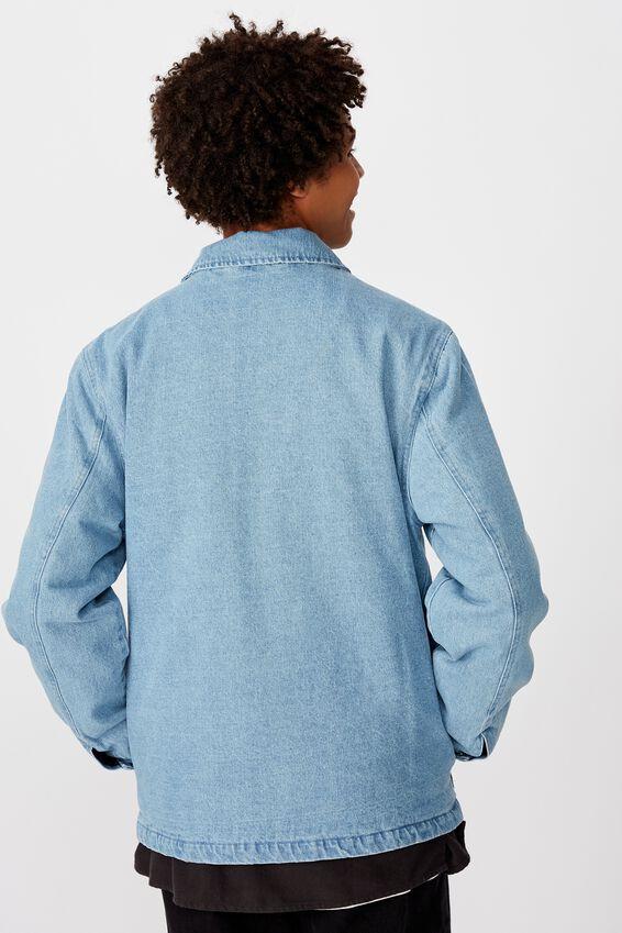 Utility Zip Through Denim Jacket, BRIGHT INDIGO
