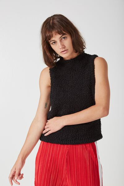 Sacramento Sleeveless Knit, BLACK