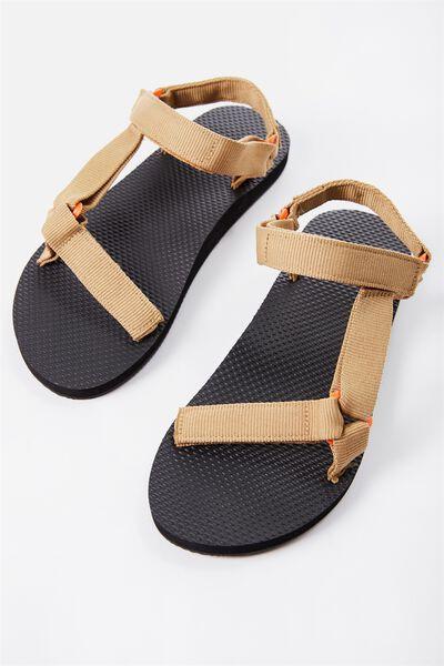 B-Utility Sandal, BLACK_TAN STRAP/ORANGE LOOP