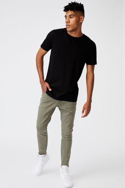 Raw Hem Skinny Leg Jean, KHAKI